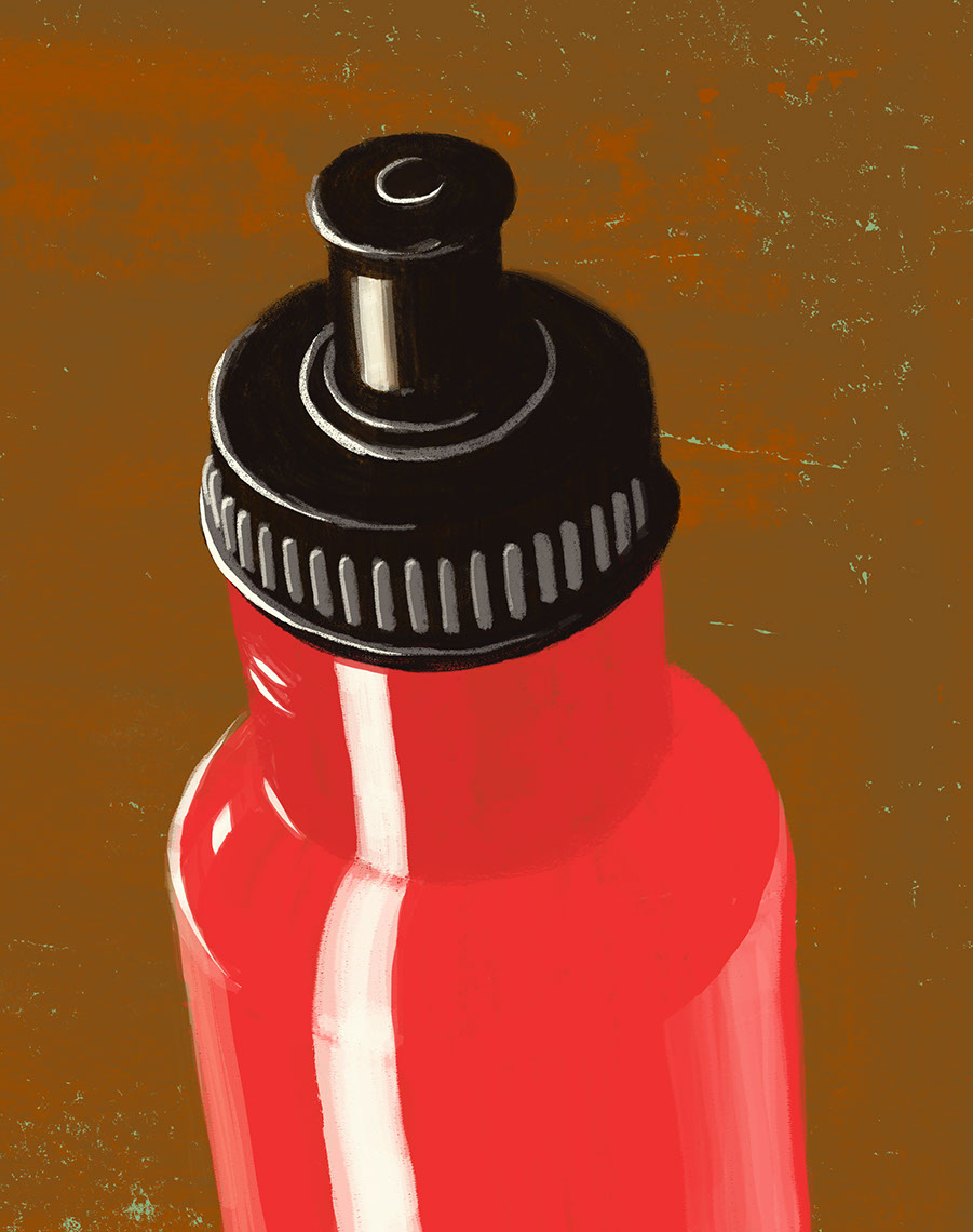 illustration-Still Life_Red water bottle-Don Bishop