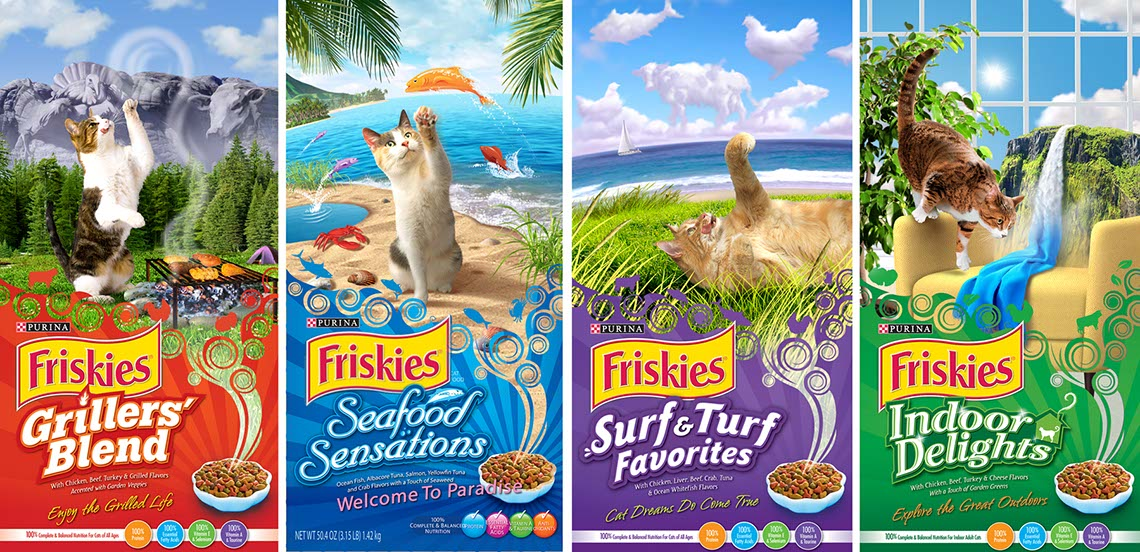 illustration-Surreal Photo-imaging of Friskies Grillers Seafood Sensations SurfnTurf and Indoor Delights packaging-Jerry LoFaro