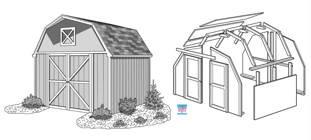 illustration-Technical and How To Storage Shed Exploded View-Garth Glazier