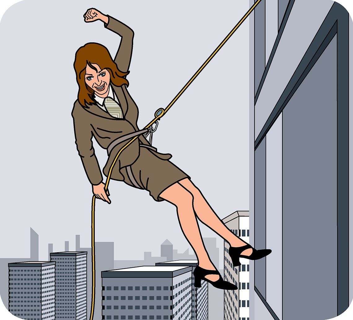 illustration-Technical and How To_Business Woman Rappelling Down Skyscraper-Jon Rogers
