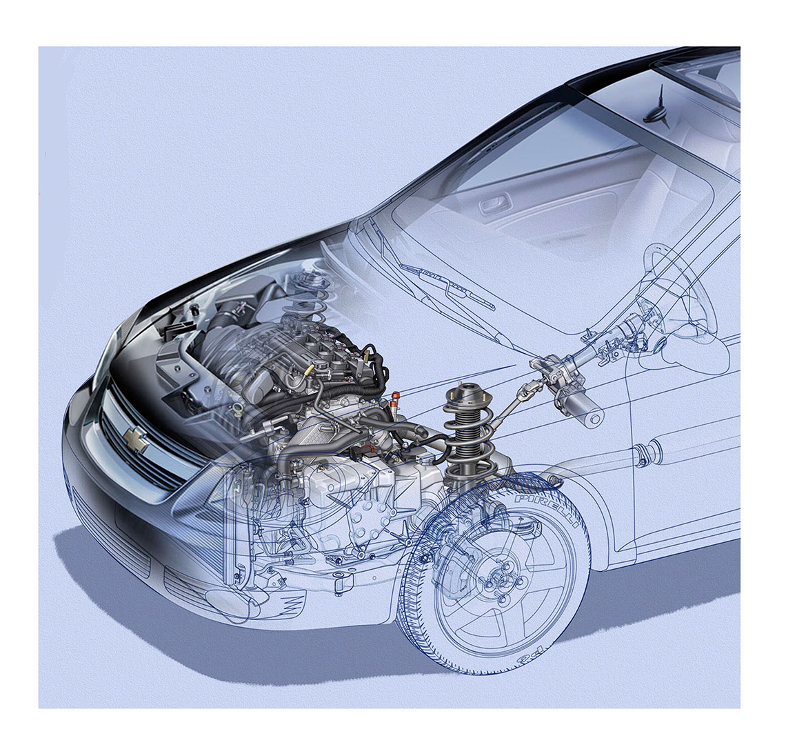 illustration-Technical and How To_Chevy Engine Cutaway-Tony Randazzo