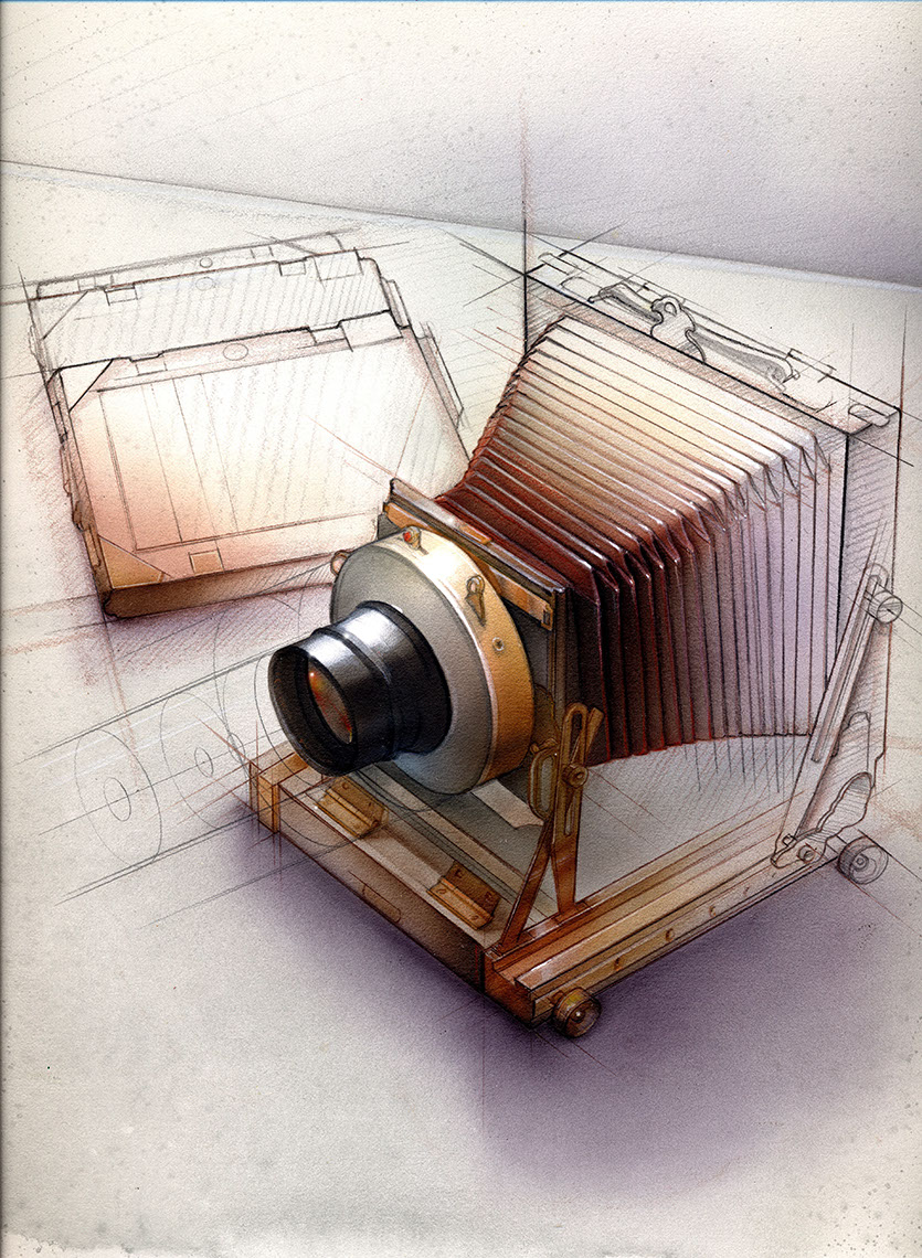 illustration-Technical and How To_Old Bellows Camera-Bonnie Hofkin