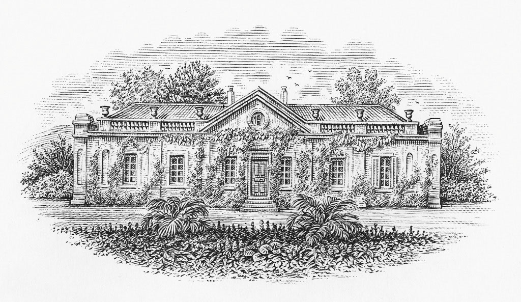 illustration-bw-etching-linework-country-mansion-Dave Hopkins