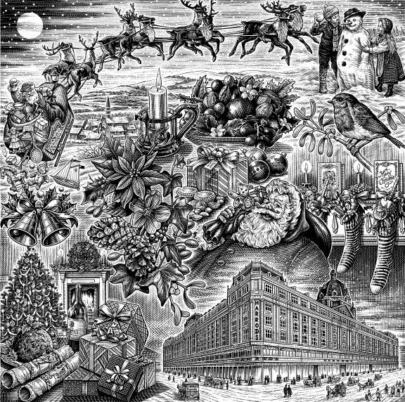 illustration-bw-etching-linework-hopkins harrods-Dave Hopkins