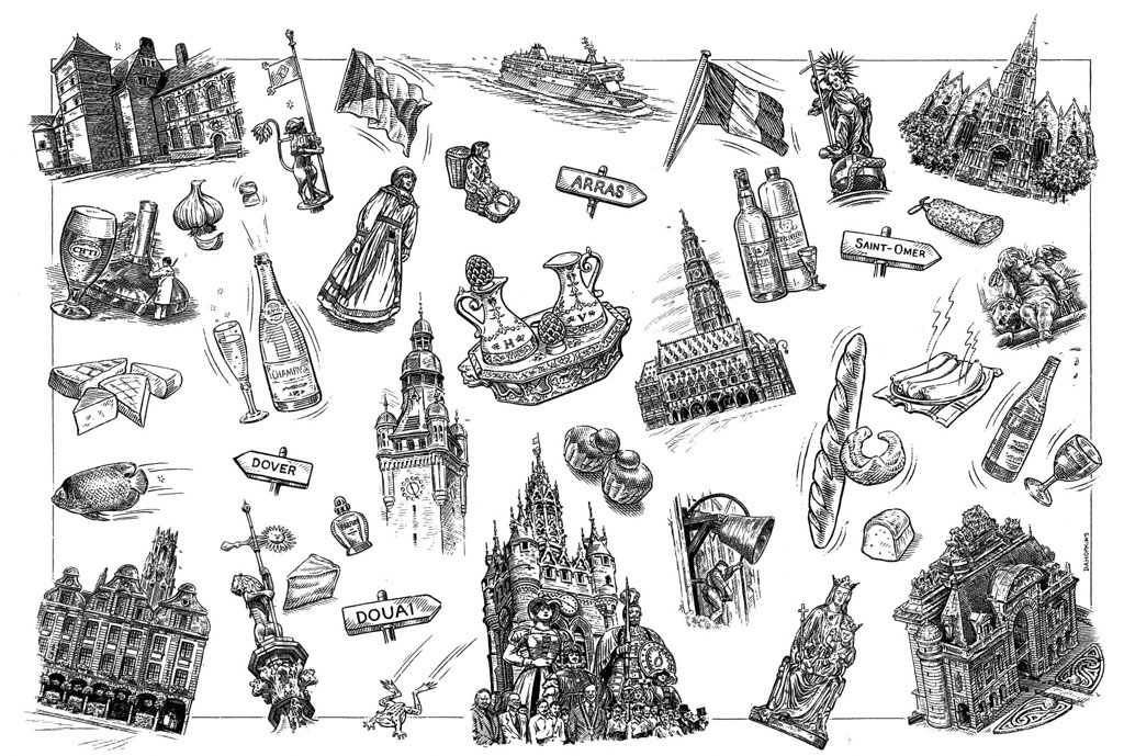 illustration-bw-etching-linework-map of london landmarks-Dave Hopkins