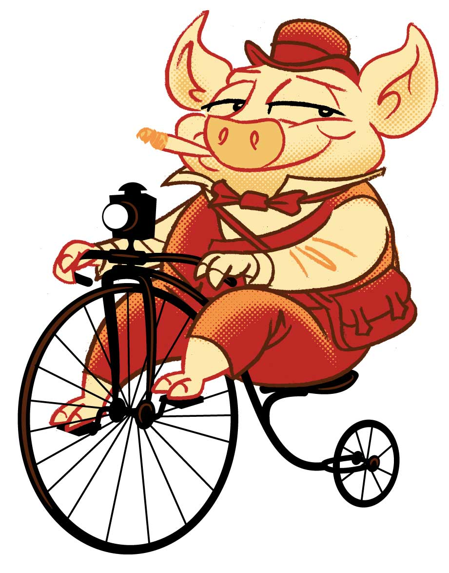 illustration-cartoon-animals-characters-Penny-FarthingPig-Geo Parkin