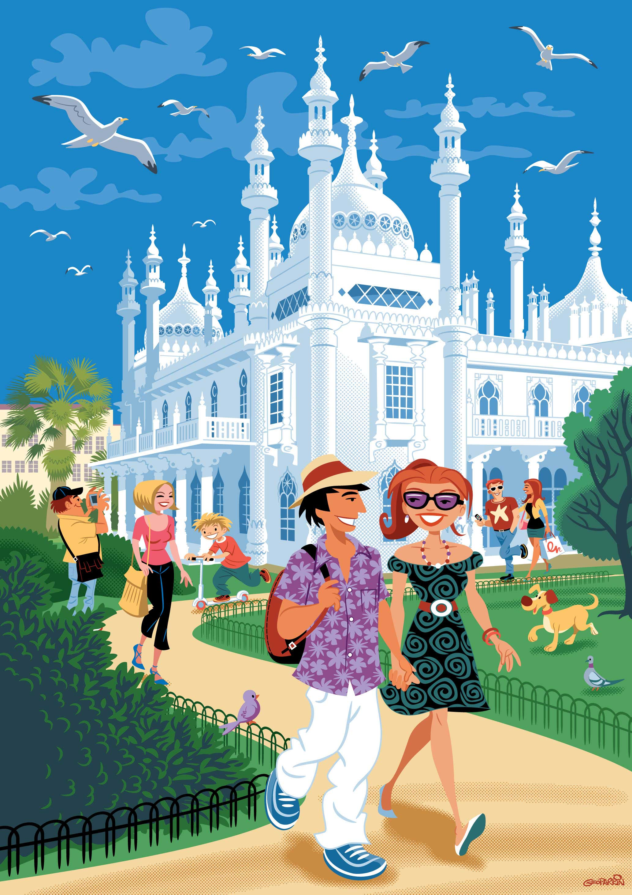 illustration-cartoon-people-BrightonPavilion-Geo Parkin