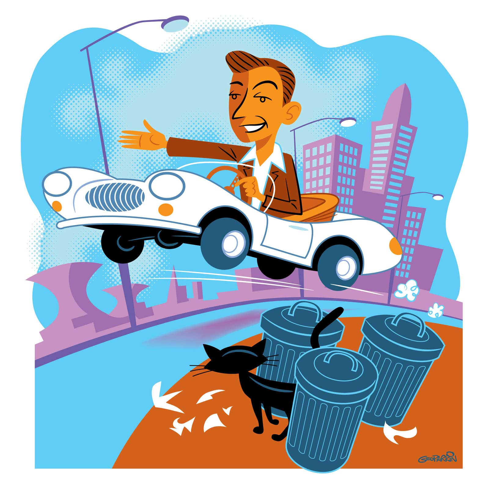 illustration-cartoon-people-Roadster-Geo Parkin