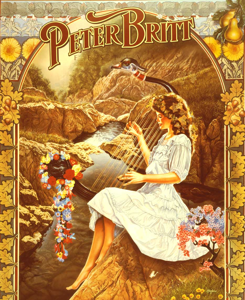 illustration oil painting girl playing lyre for peter britt poster