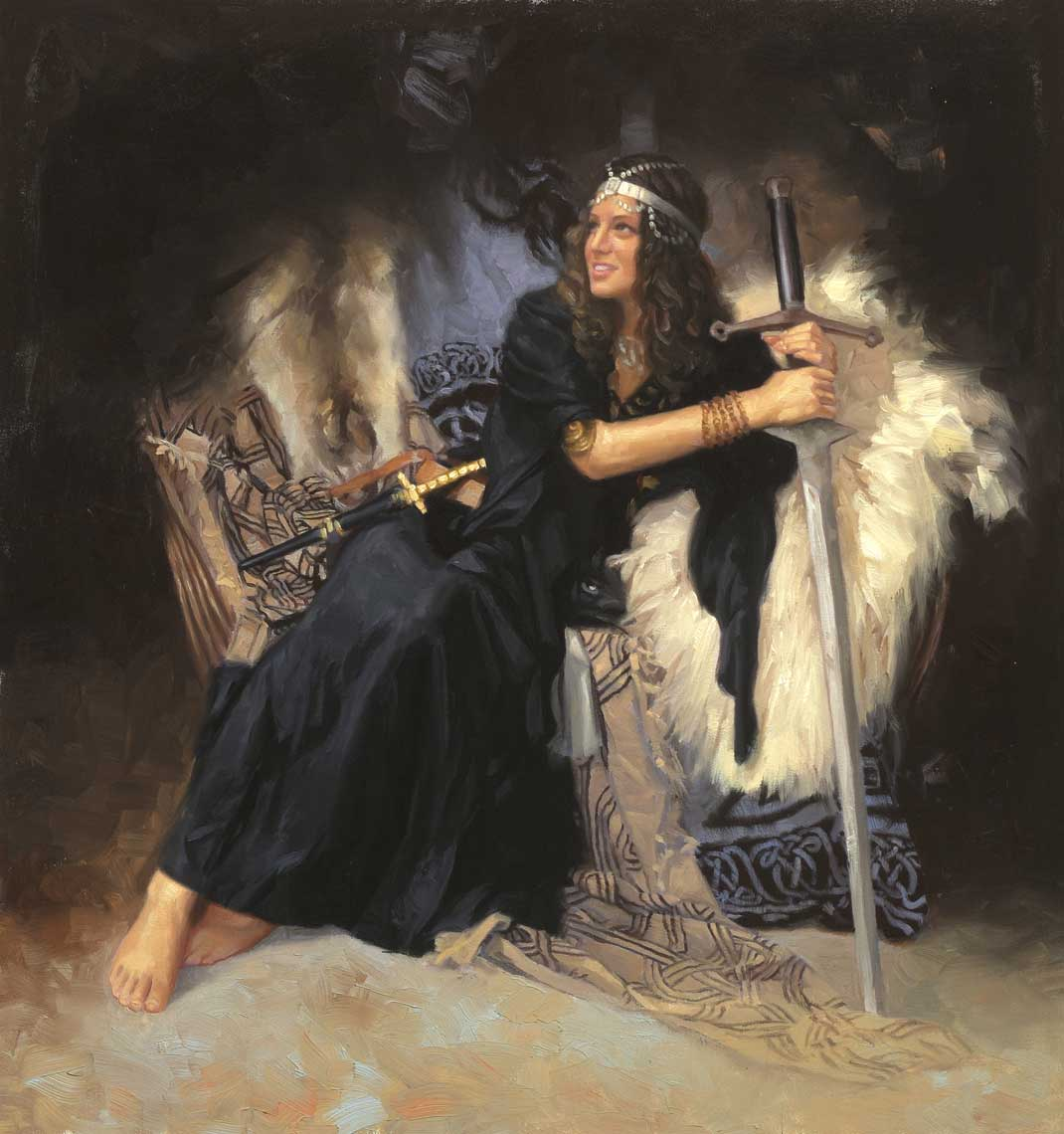 illustration oil painting-retro-beautiful woman with sword