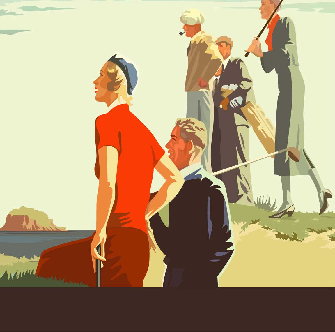 illustration painting-retro-1920s caddies with golfers on golfcourse