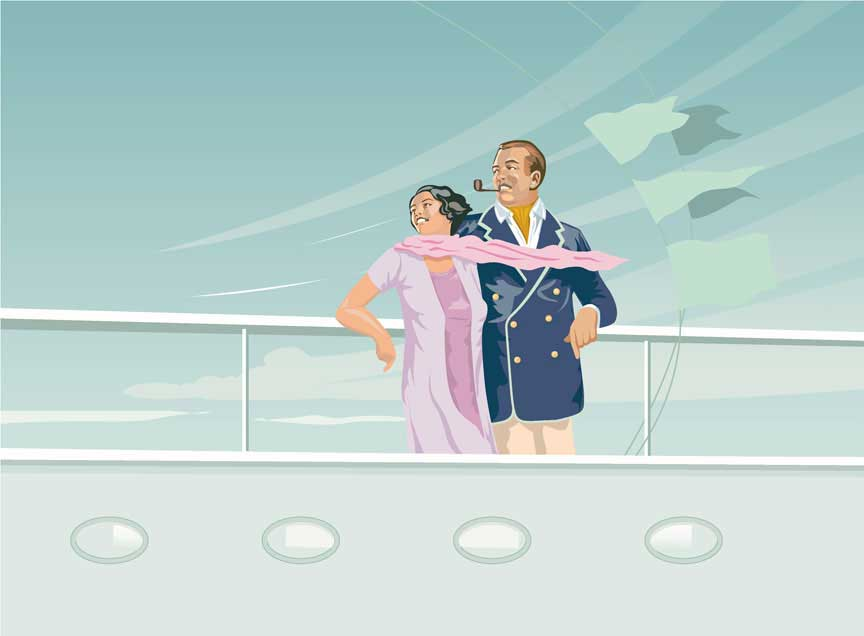 illustration painting-retro-1930s couple on steamship rail basil street blues-yachting web