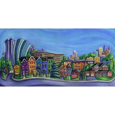 illustration-pastels-toronto city skyline with row houses-giovannina