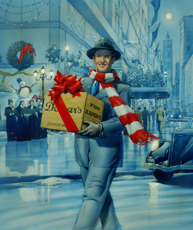 illustration-retro_dewars Christmas ad-Bill Garland