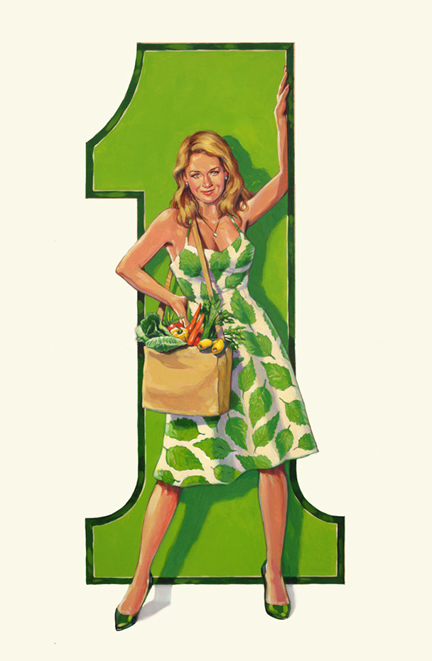 illustration-retro_number one green girl -Bill Garland