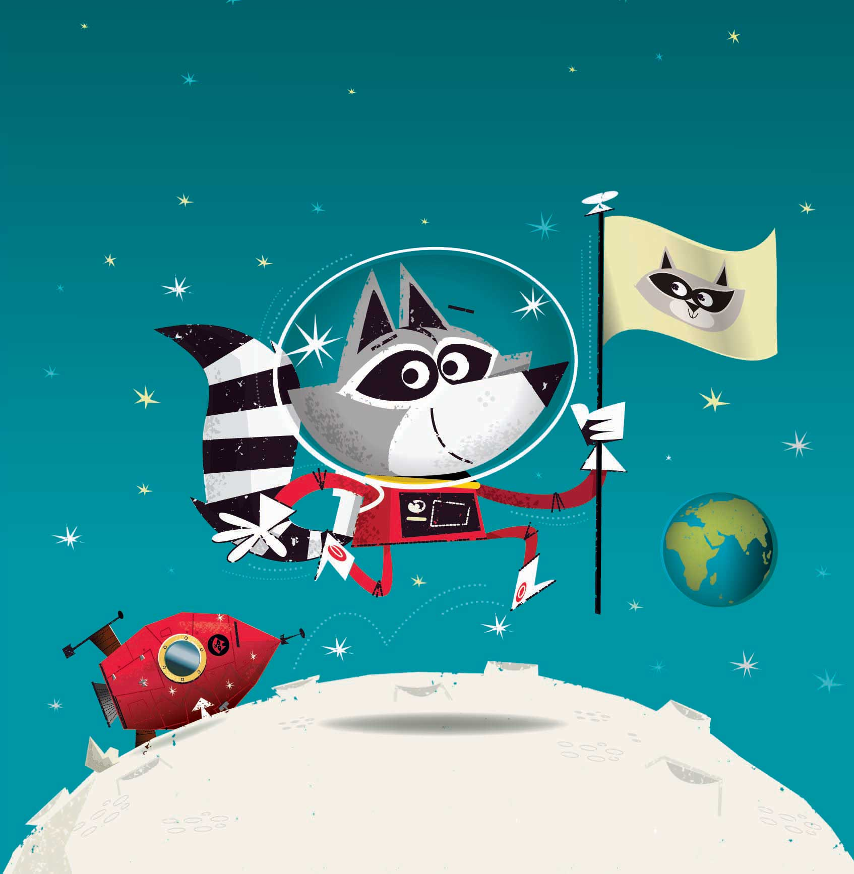 illustration-space-racoon-planting-flag-on-moon-David-Semple