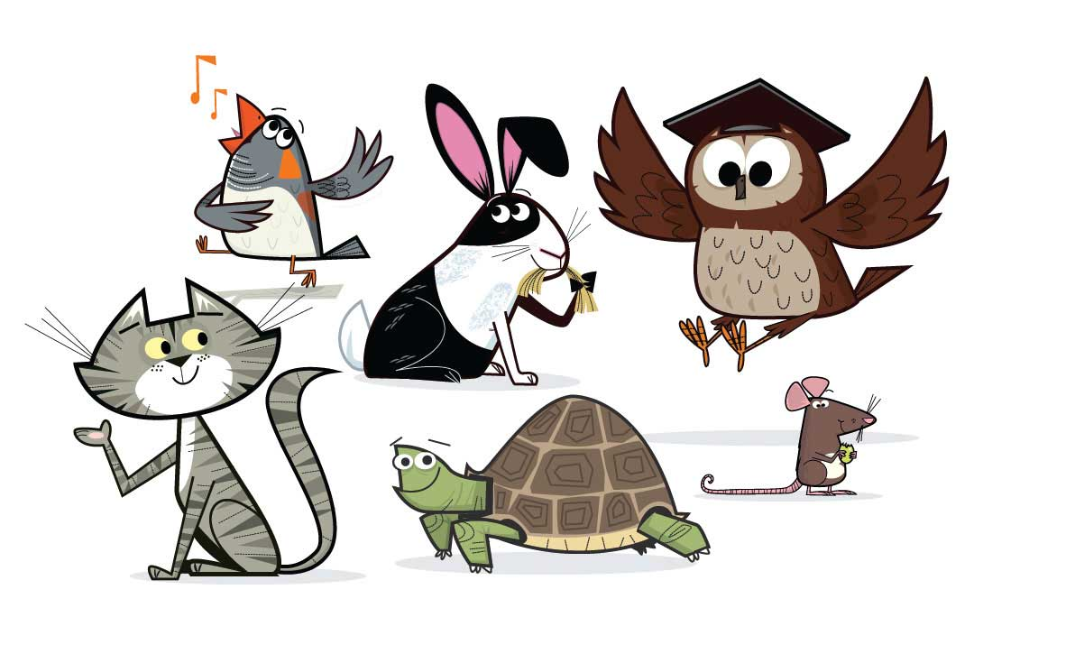 illustration vector-Animals & Nature_Bird Cat Tortoise Rat Rabbit Owl
