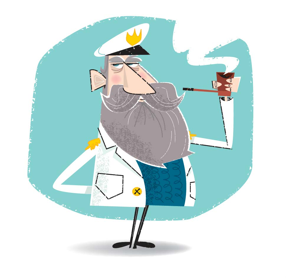 illustration vector-Cartoons & Characters_Captain Magazine illustration