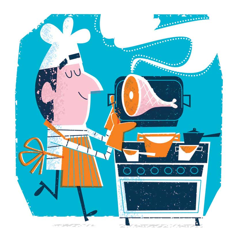 illustration vector-Retro_Chef Magazine illustration