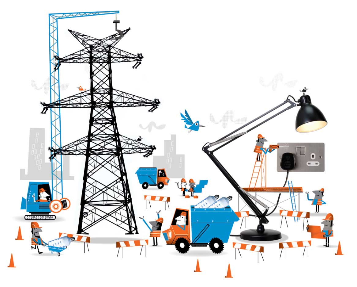 illustration vector-Retro_Energy Construction illustration