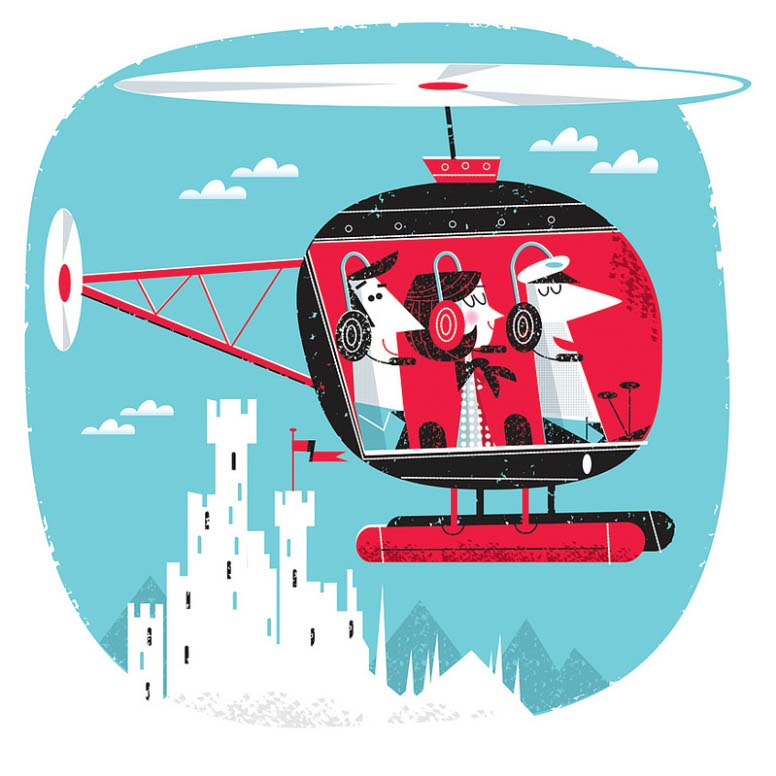 illustration vector-Retro_Helicopter Magazine illustration