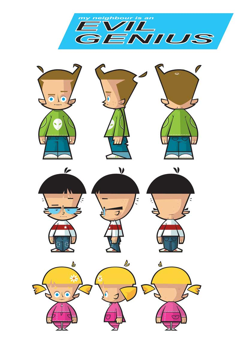 illustration-vector-cartoon-Boys and girls character development- EVil Genius