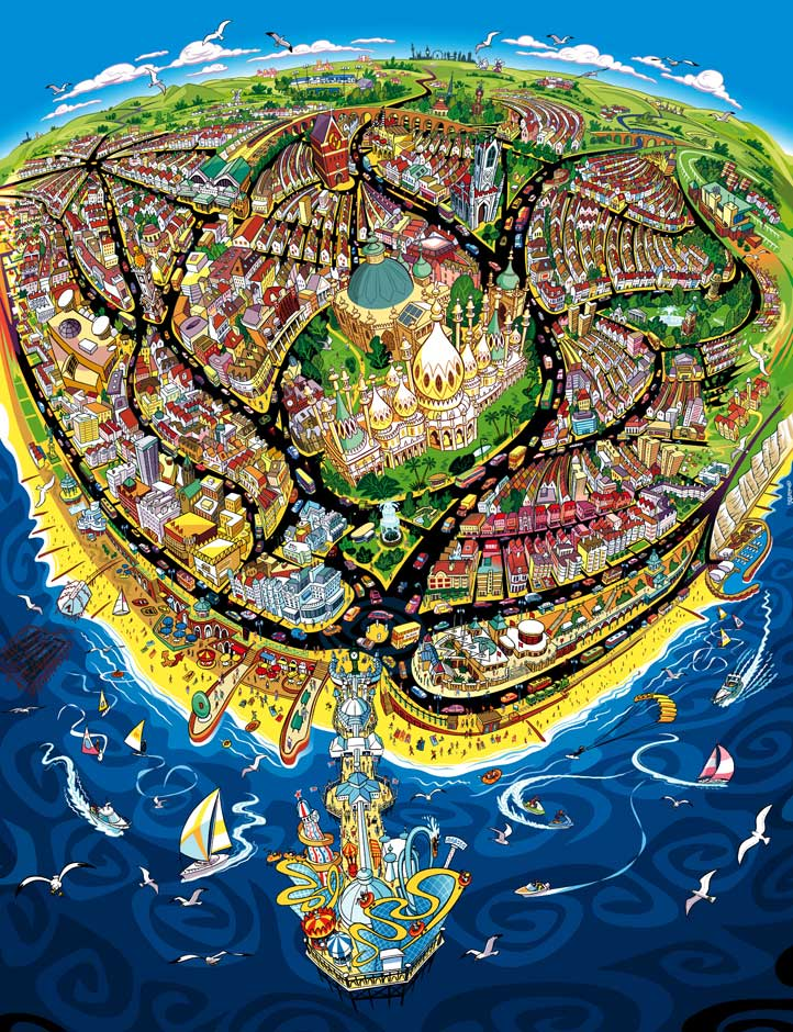 illustration-vector-overhead-map-of-city-of-Brighton-Geo Parkin