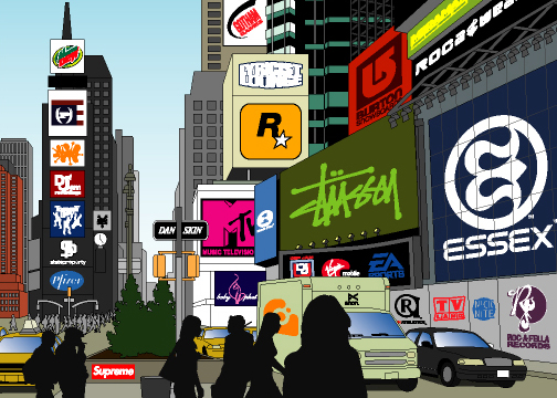 illustration-vector-times square at rush hour-jib hunt