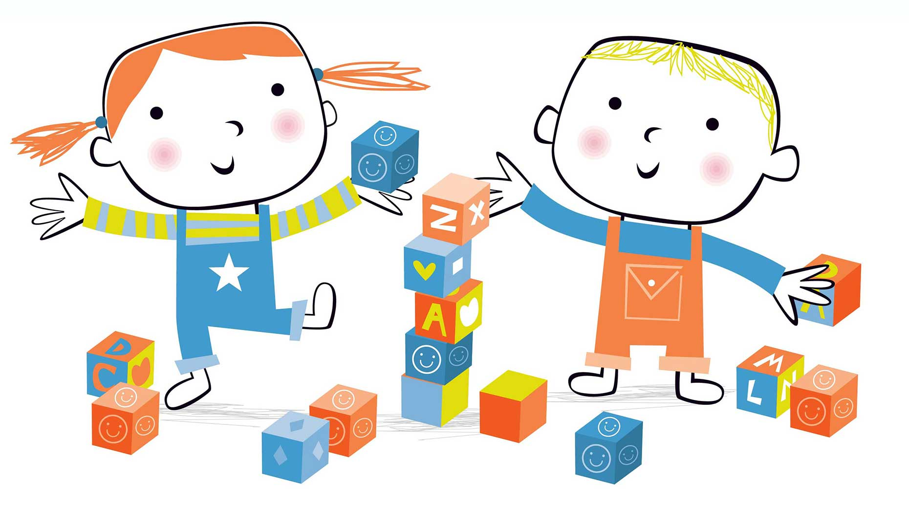 illustration-vector_kids playing with blocks-David Semple