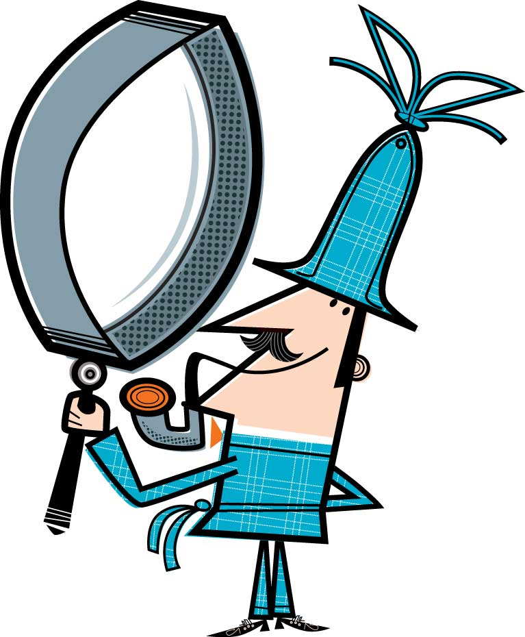 illustration-vector_rendering-sherlock holmes with magnify glas