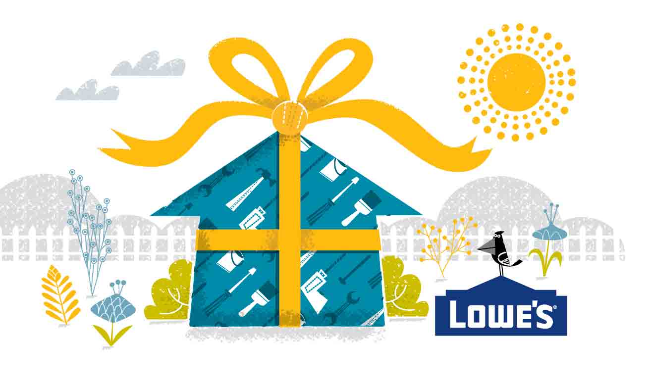 new home wrapped with a bow for gift card art Lowes Home Improvement