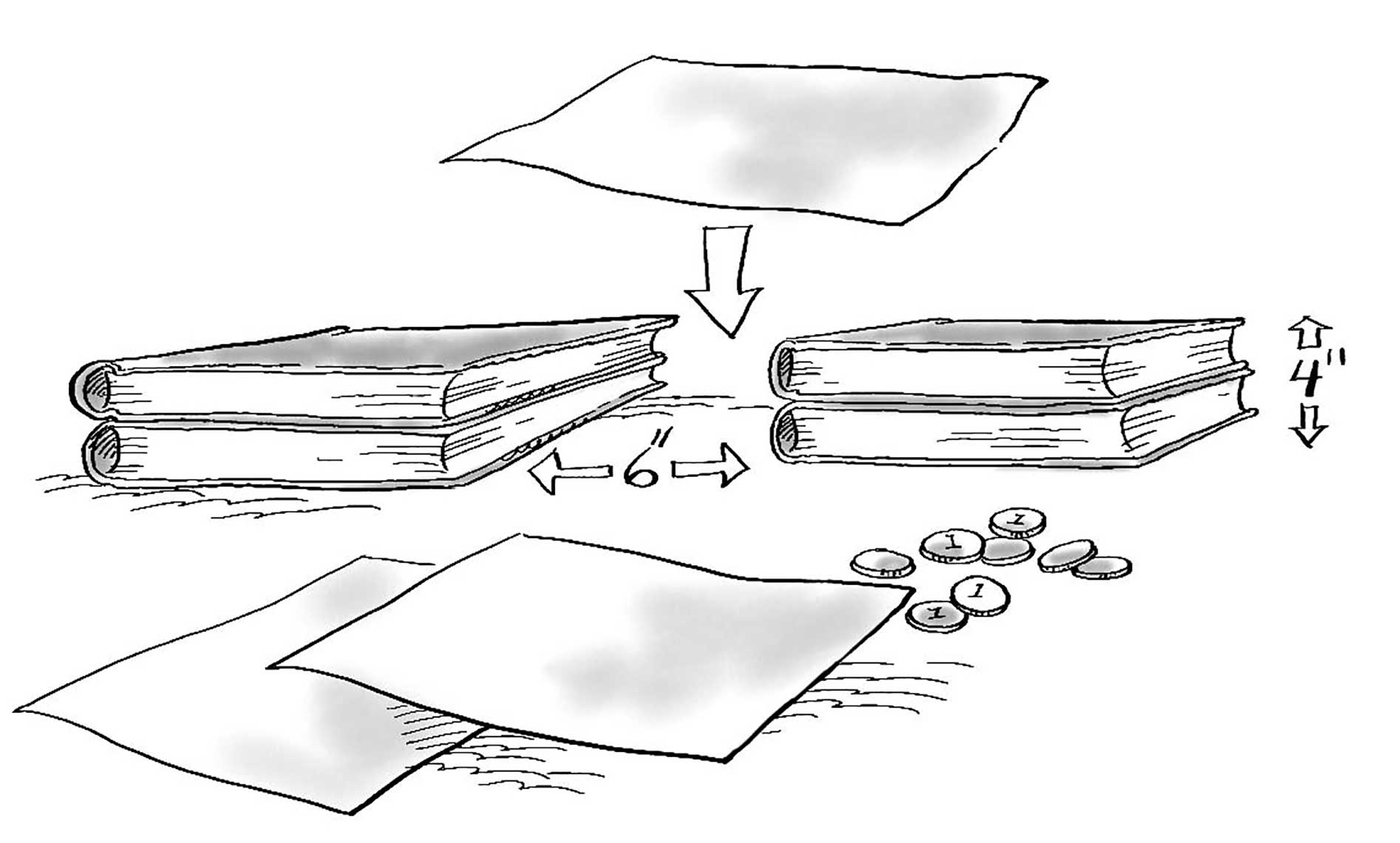paper bridge with books design process illustration