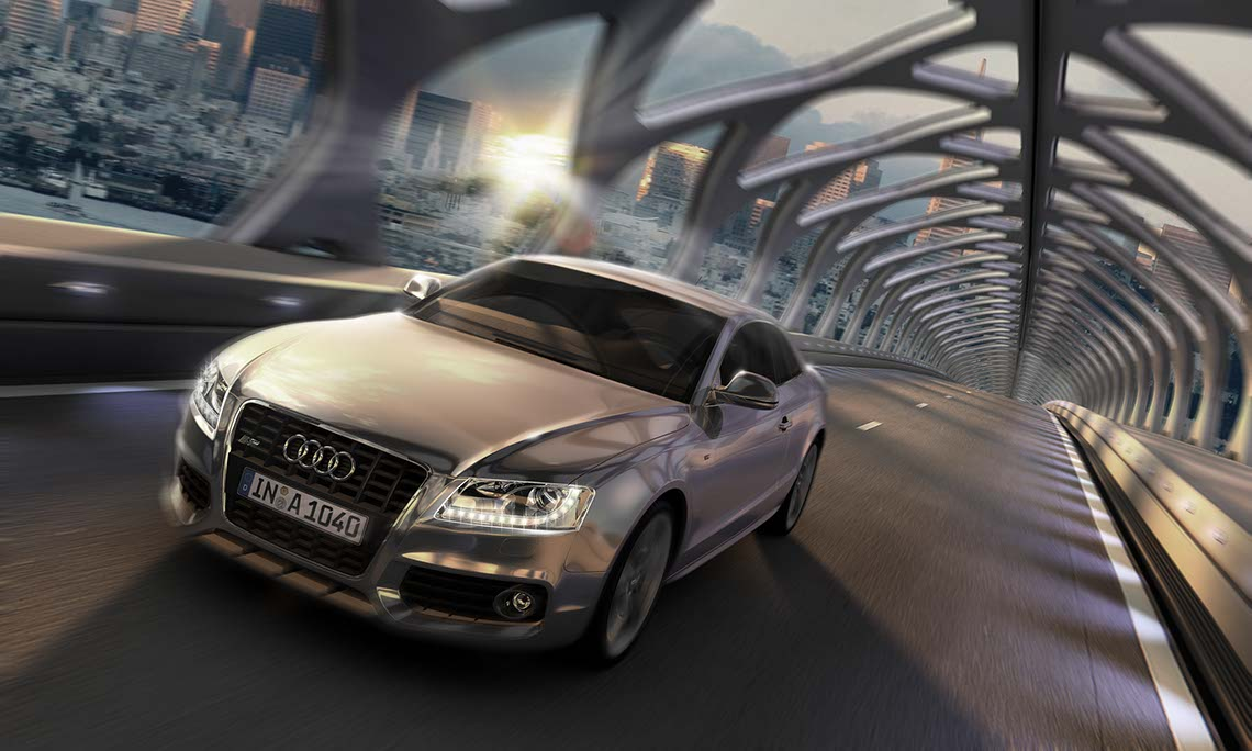photo-imaging-Audi_A6_ in Futuriistic Metal Tunnel_with city background-Frank Neidhardt