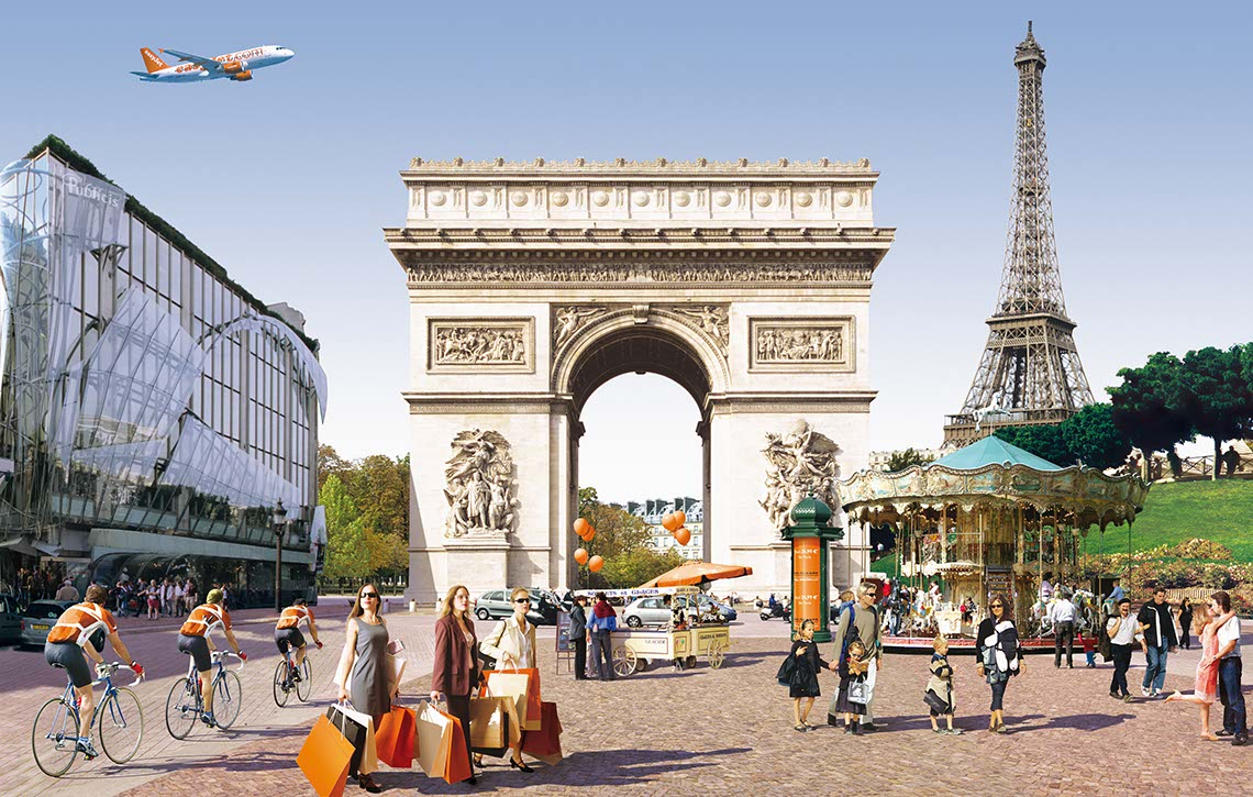 photo-imaging-Paris_Montage_secne of bikers-shoppers-tourists-arch dtriomphe-eifel tower for EasyJet-Frank Neidhardt