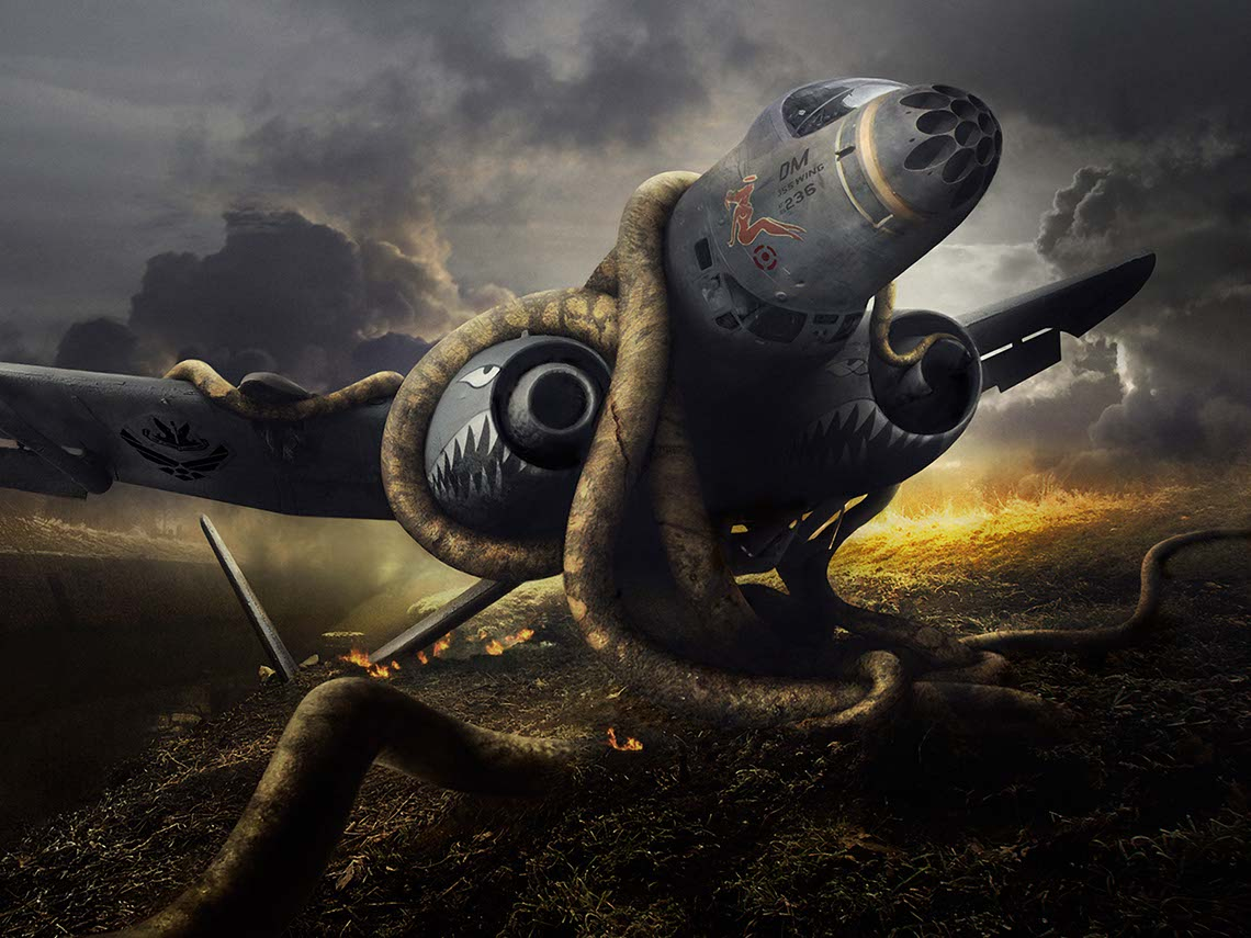 photo-imaging-entertainment-game-imagery-Enchanted-burning-wreckage-of-fighter-jet-with-boa-constrictor-wrapped-around-fusilage-Mike Bryan