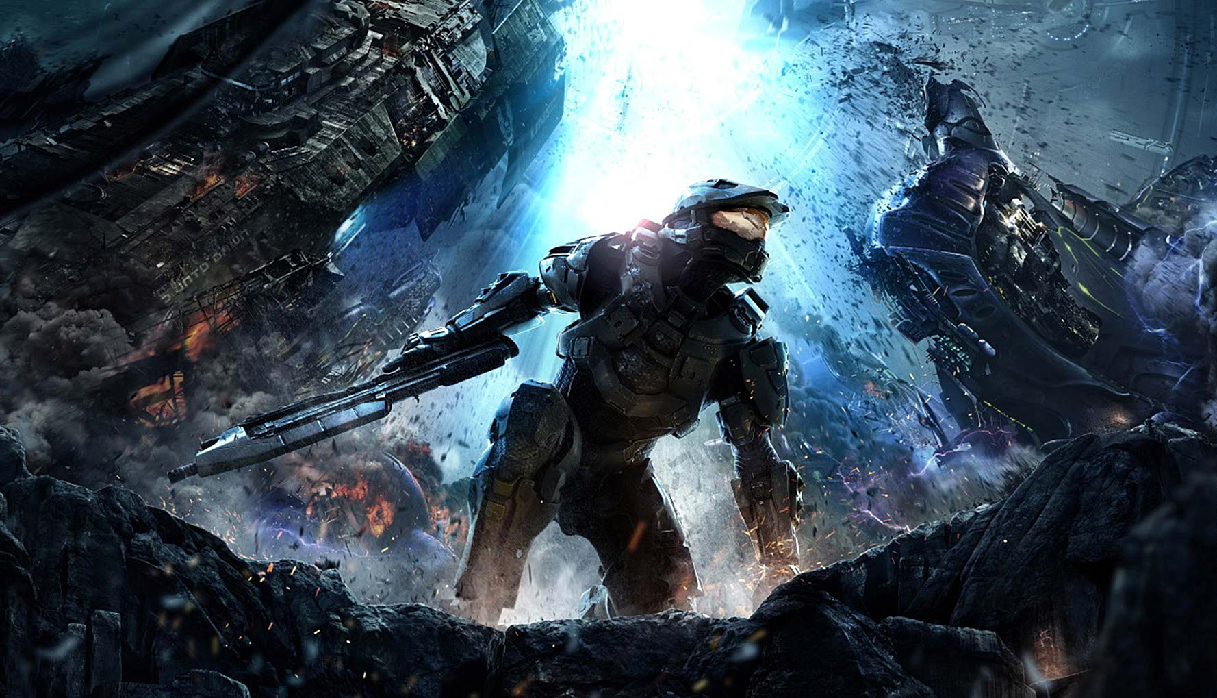 photo-imaging-entertainment-game-imagery-Halo_4-key-art-halo-surrounded-by-crashing-spaceships-on-fiery-apocalyptic_lanscape-Mike Bryan