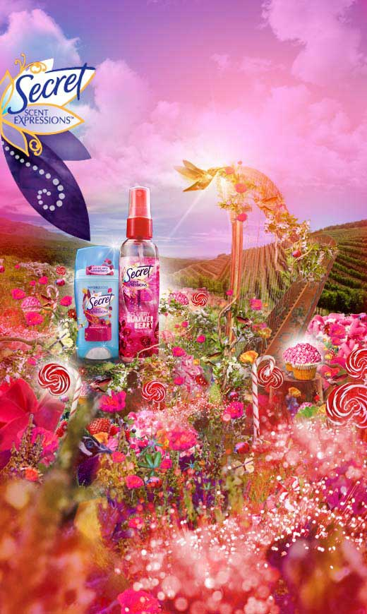 photo-imaging-steroscopic berry floral landscape for secret campaign