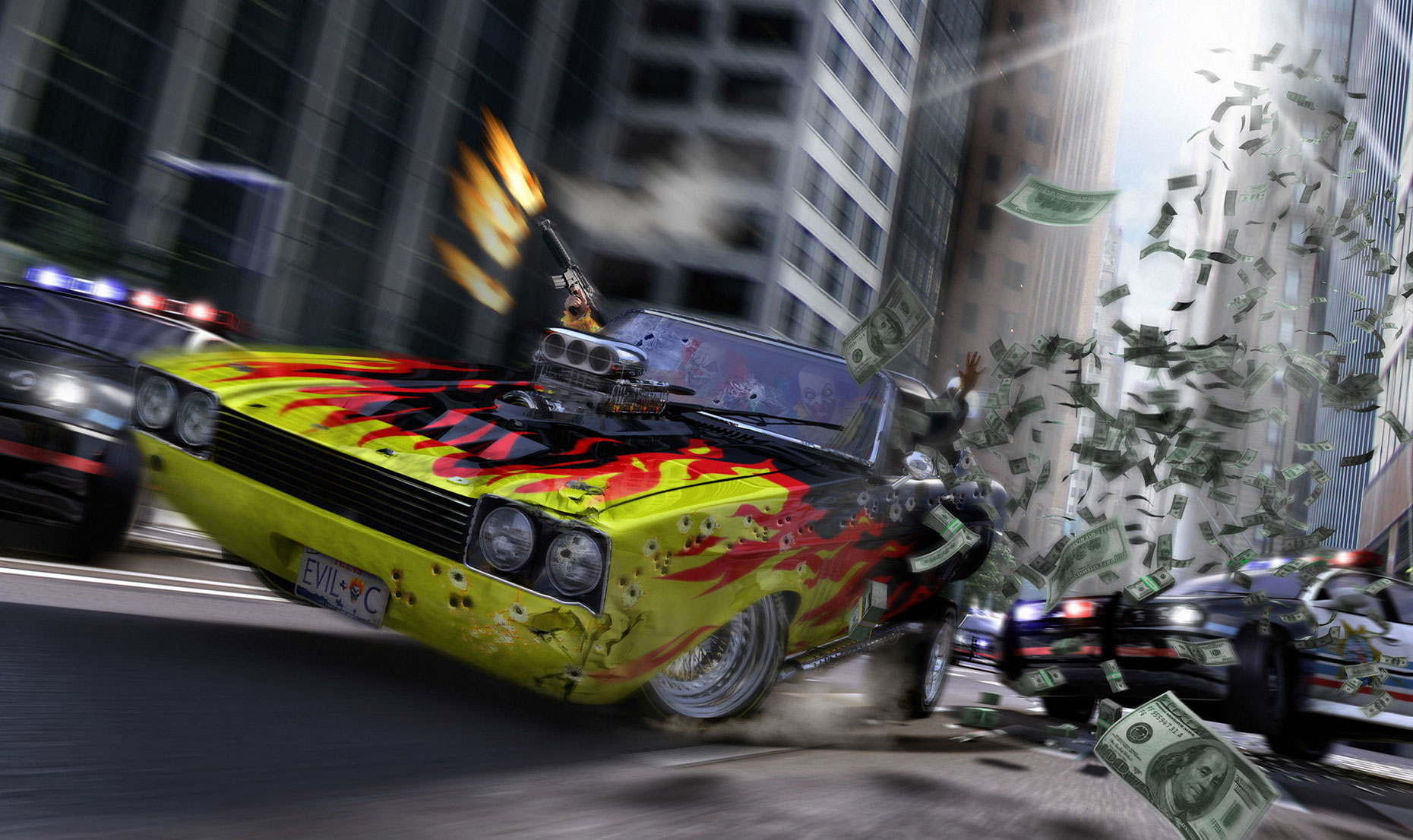 photo-imgaing-CGI Cars_High speed chase car with flames-Frank Neidhardt
