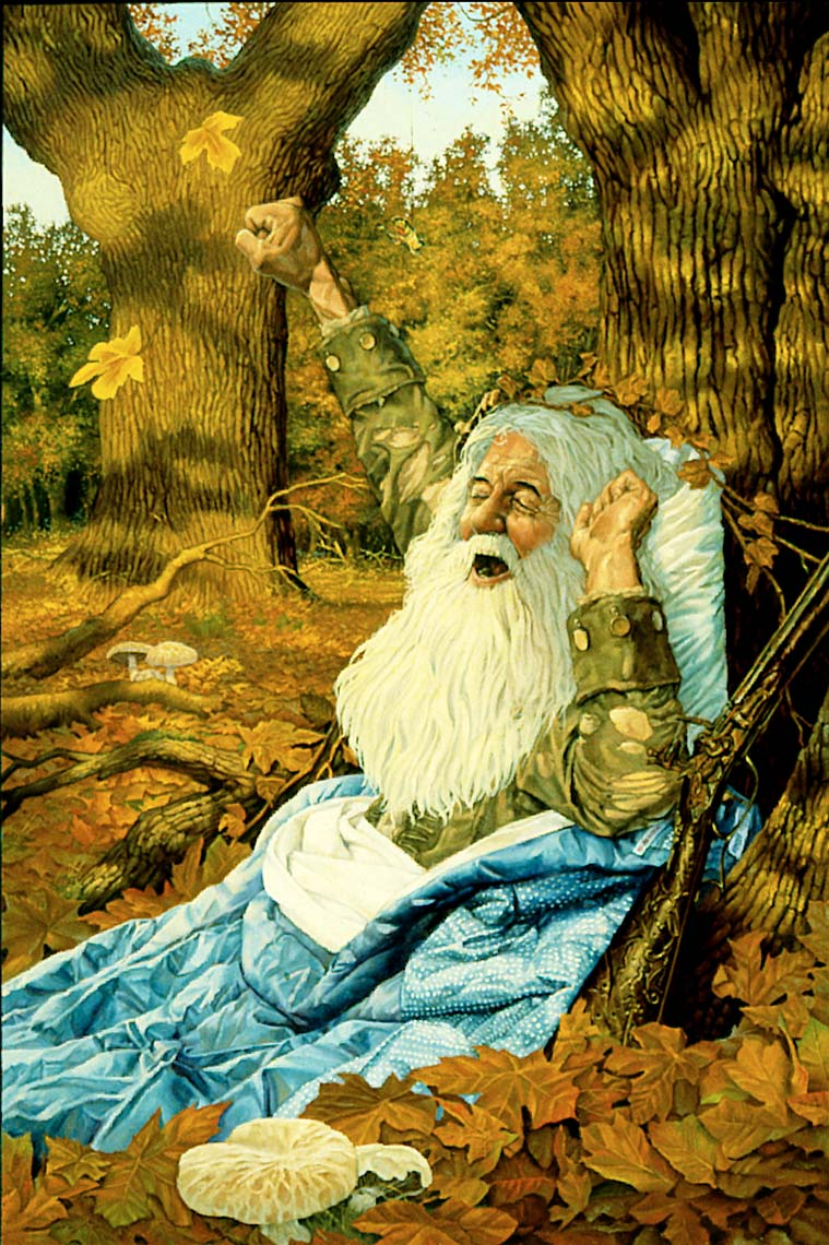 rip van winkle waking up-oil painting-retro