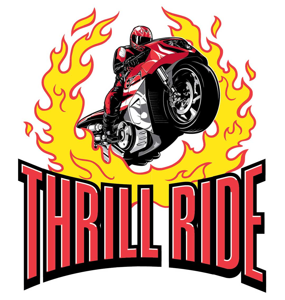 thrill ride logo motorcycle jumping fire right -hot wheels logo development
