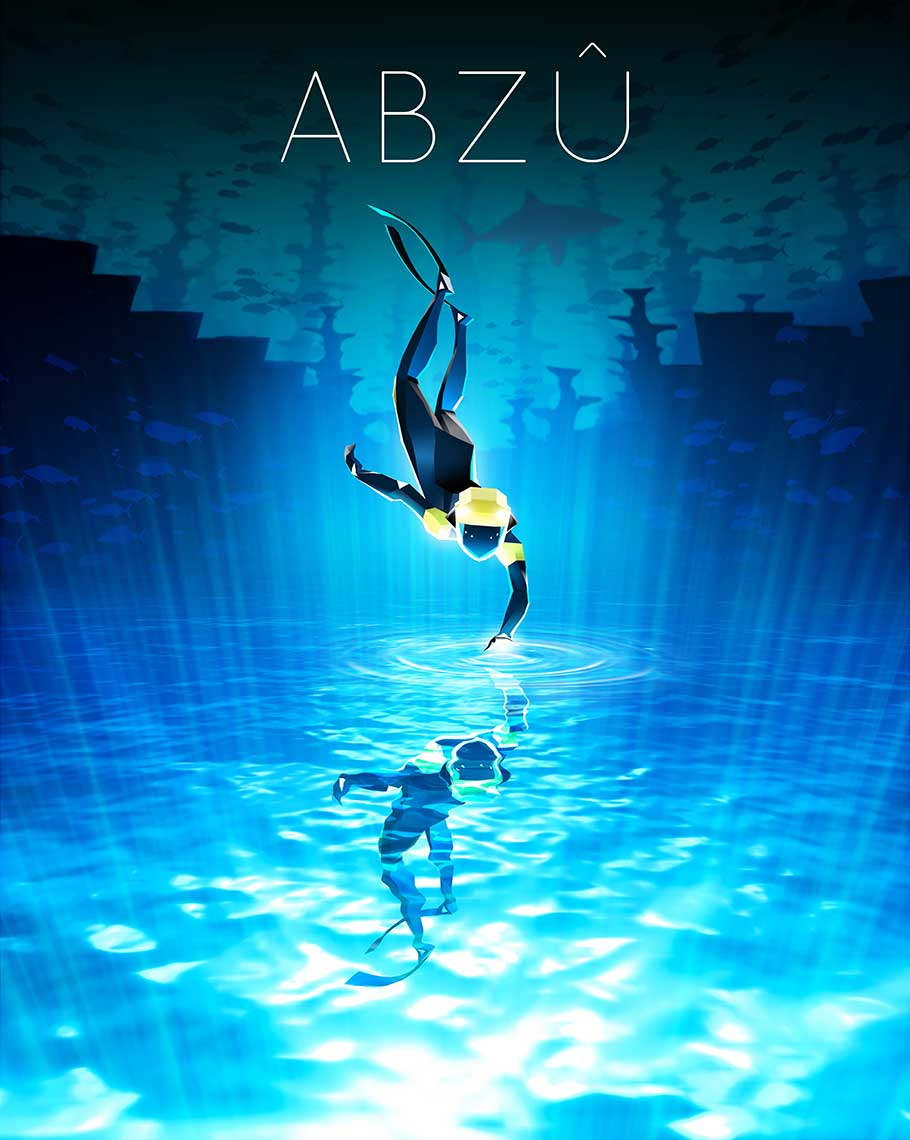 underwater scene of diver with undersea world for Abzu Extended game key art