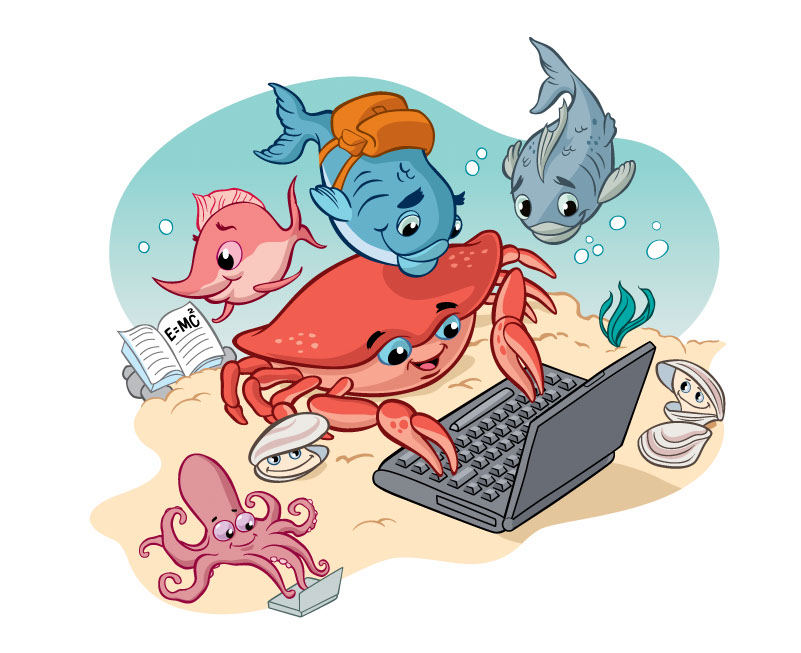 vector-Illustration_Cartoons and Character Design_Crab Laptop Computer-barry orkin