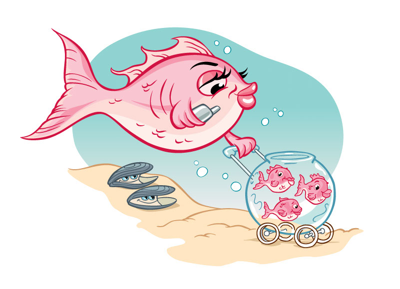 vector-Illustration_Cartoons and Character Design_Pink Fish Mom and Babies-barry orkin