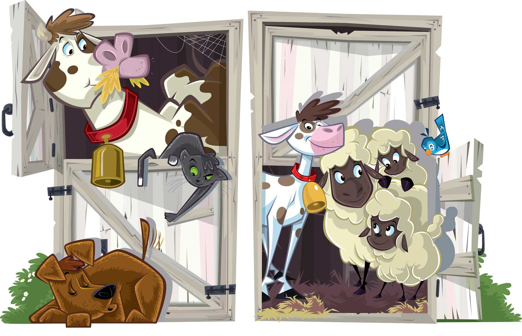 vector illustration-animal characters-shed barn doors