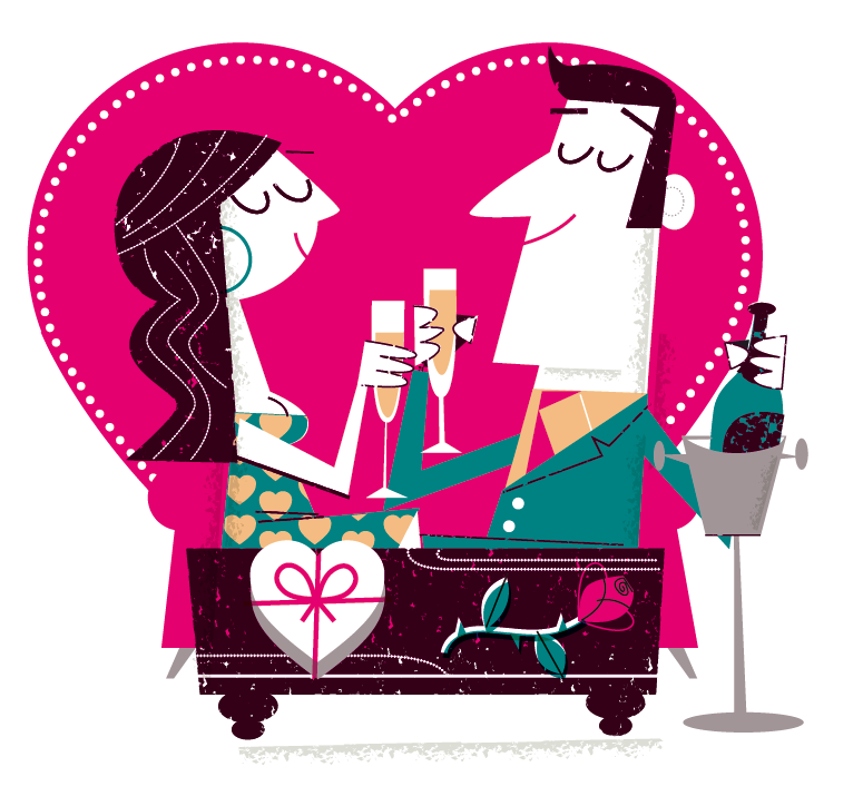 vector cartoon illustration couple with champagne