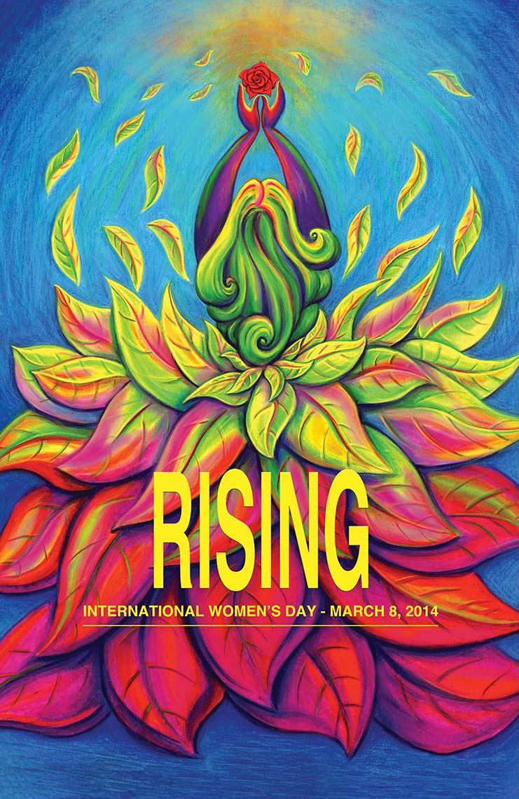 woman as blooming flower for rising womans day poster